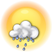Mostly cloudy with showers